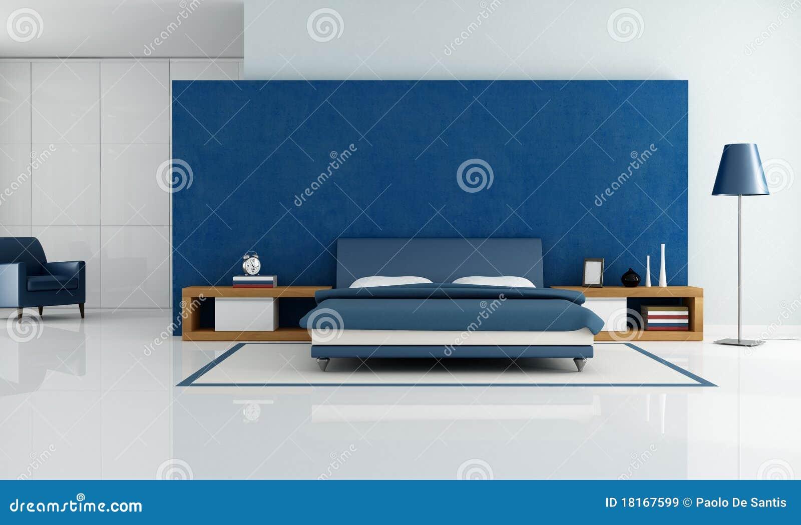 Camera Da Letto Blu-chiaro Moderna Contemporanea Illustrazione di ...