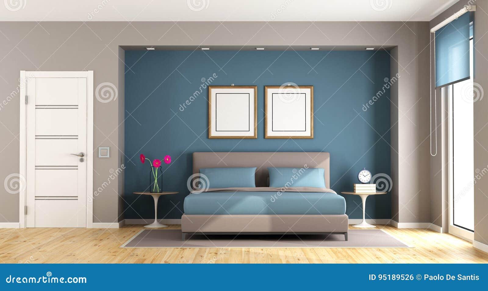 Camera Da Letto Moderna Marrone : Camera da letto moderna blu e marrone illustrazione di stock