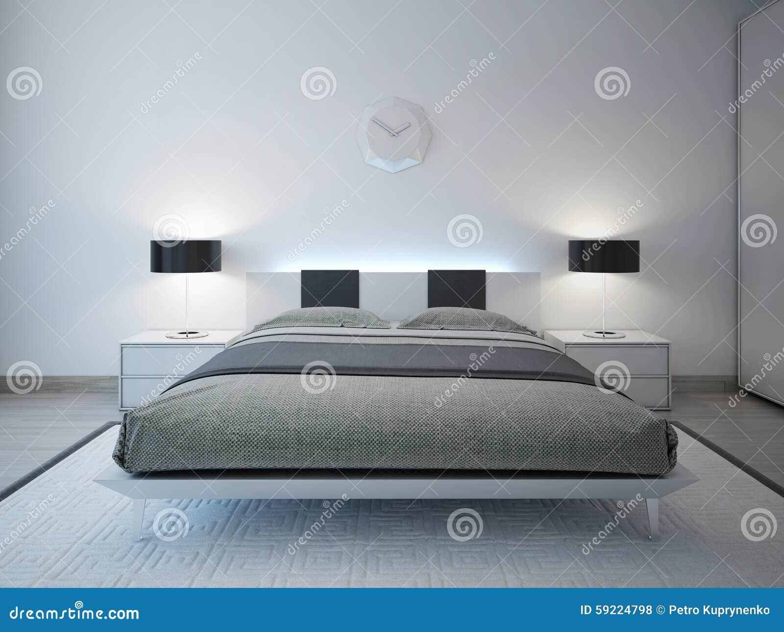 Camera da letto moderna con la mobilia avanzata di illuminazione fotografia stock immagine di - Illuminazione camera da letto ...