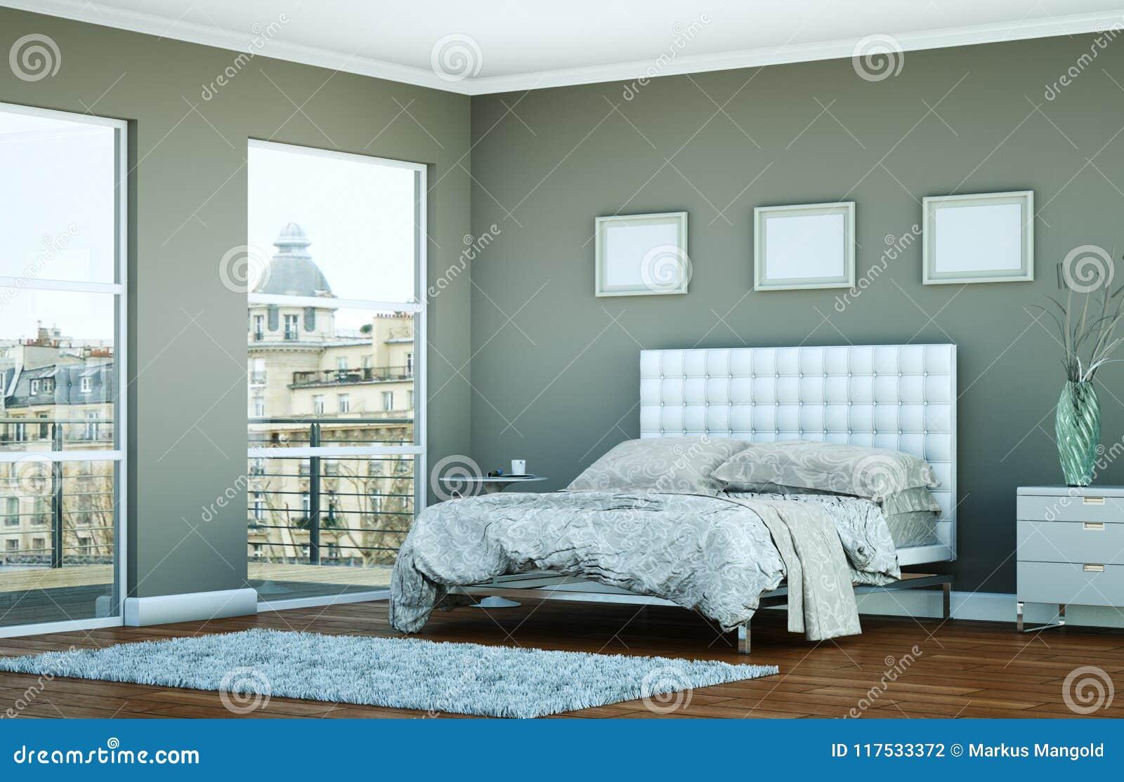 Camera Da Letto Moderna Con La Parete Grigia E Decorazione ...