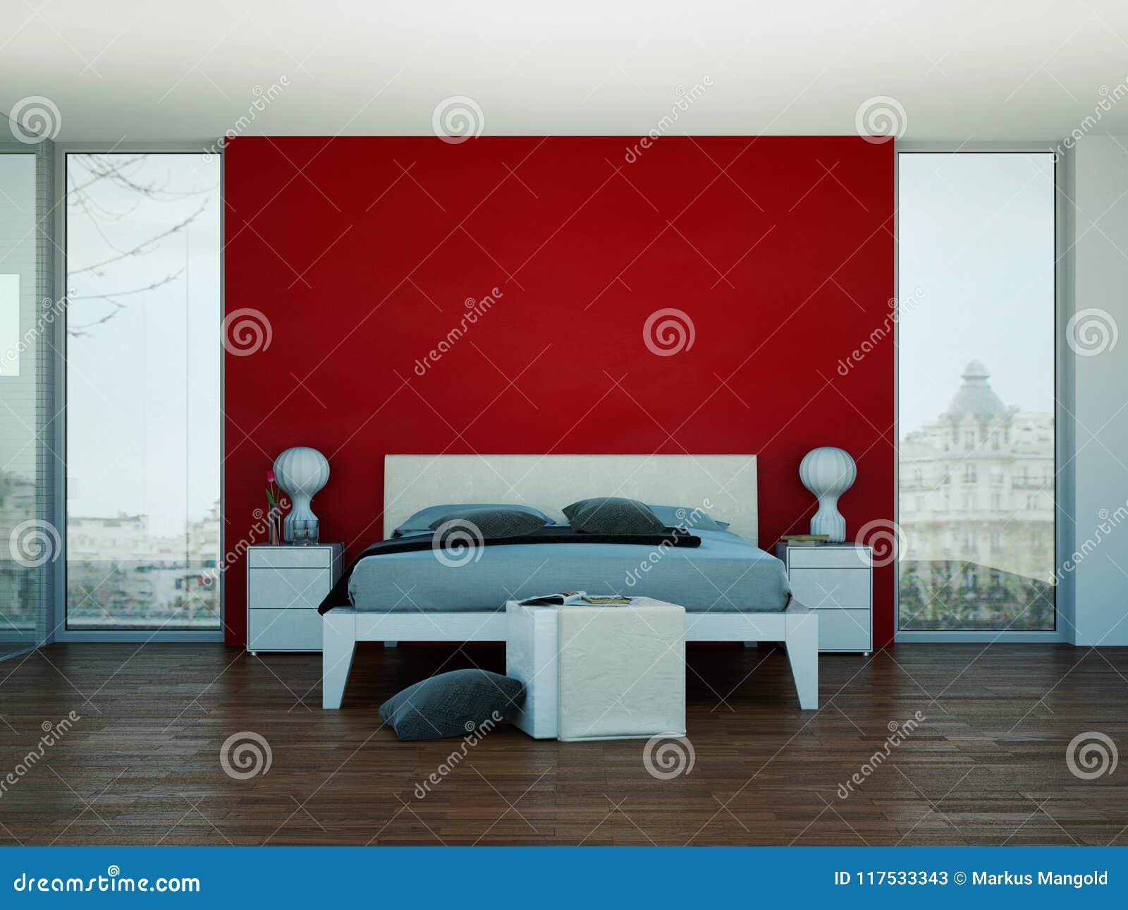 Camera Da Letto Moderna Con La Parete Rossa E Decorazione Moderna ...
