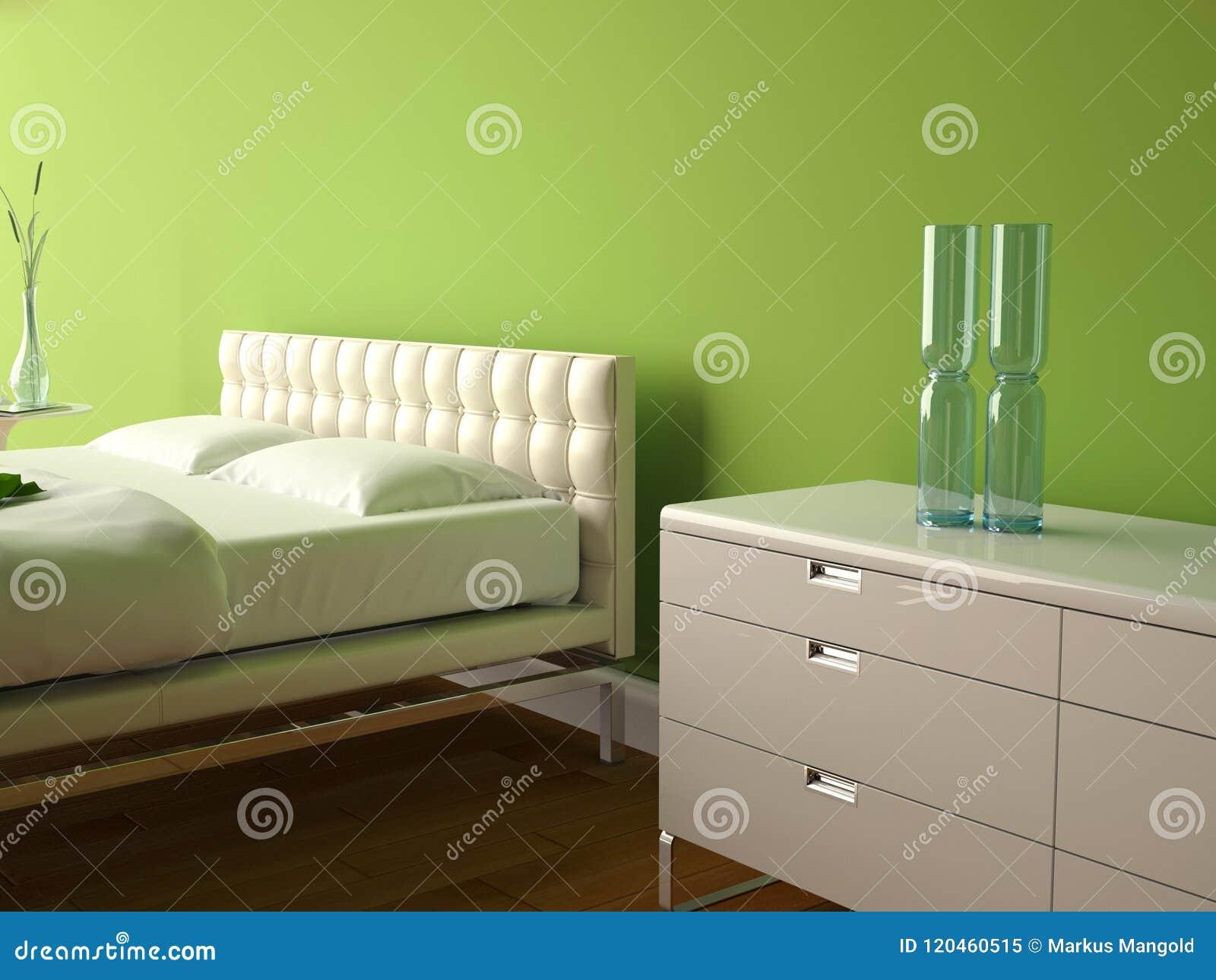 Camera Da Letto Moderna Con La Parete Verde E Decorazione Moderna ...