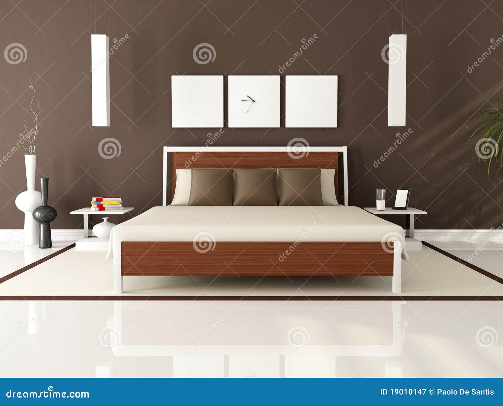 Camera da letto marrone elegante contemporanea - rappresentazione.