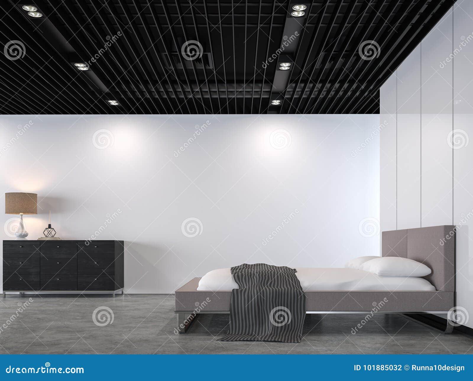 Camera Da Letto Moderna Del Sottotetto Con L\'immagine D\'acciaio Nera ...