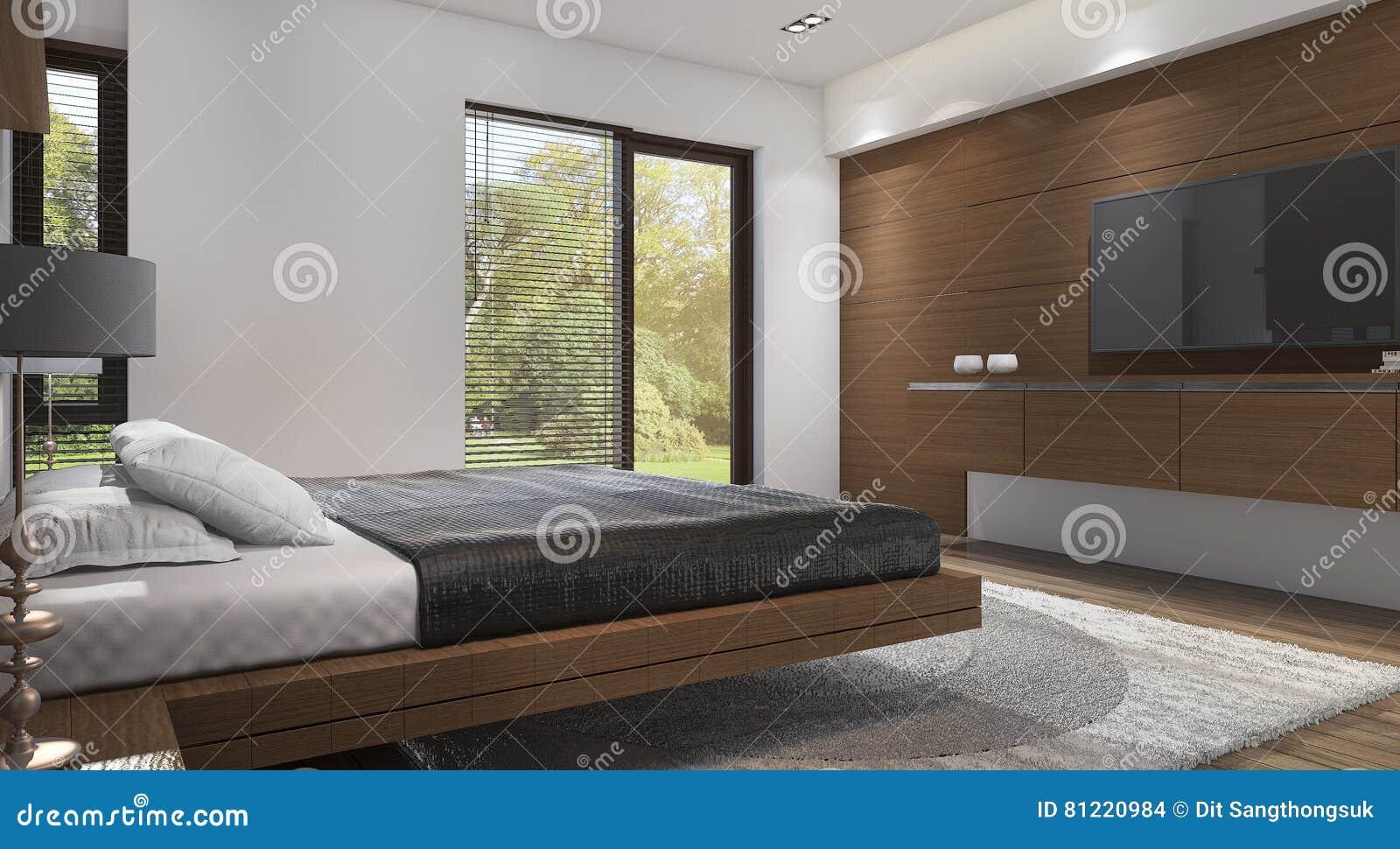 Camera Da Letto Legno Moderna : Camera da letto moderna di legno di stile della rappresentazione 3d