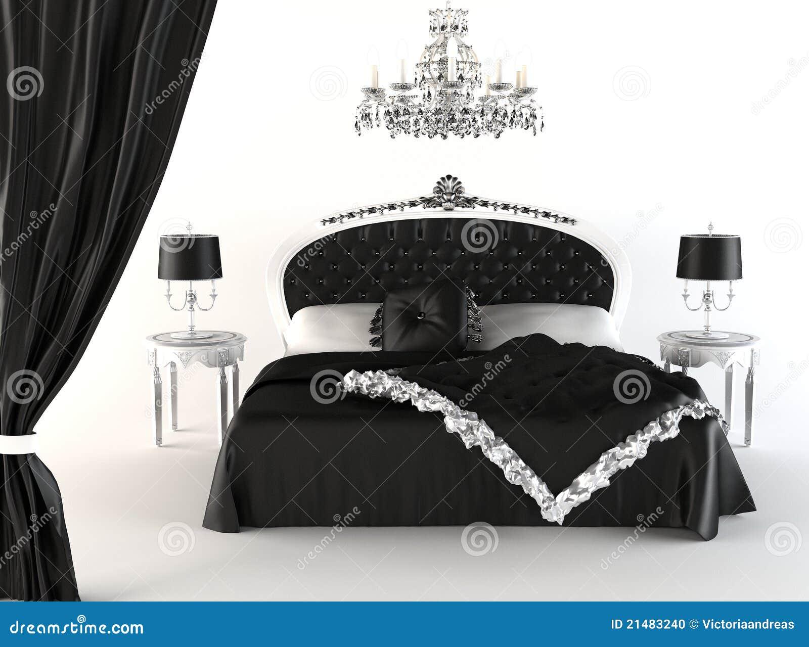 Camera da letto moderna e mobilia reale illustrazione di - Camera da letto laccata bianca ...
