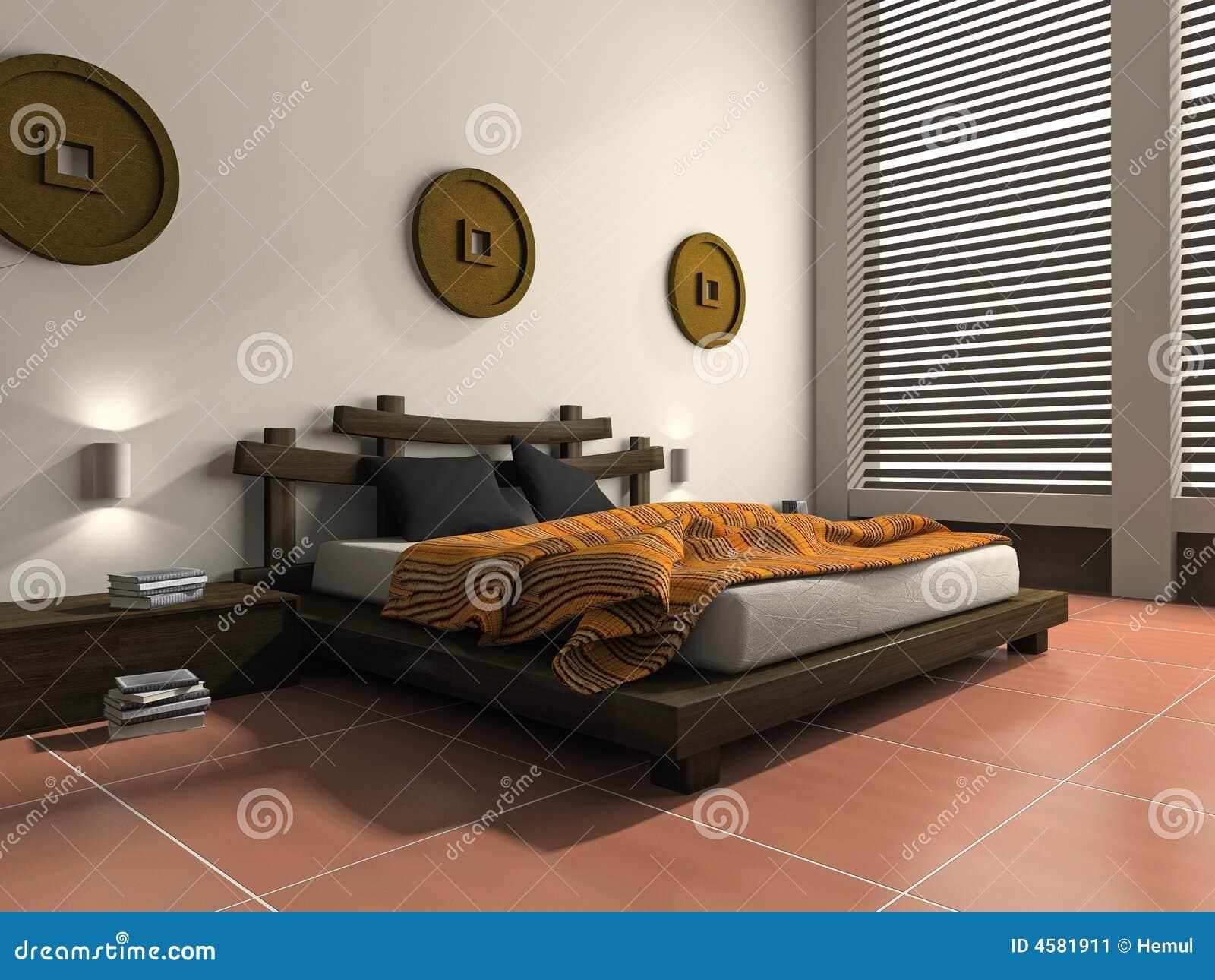 Camera da letto moderna nello stile etnico illustrazione di stock