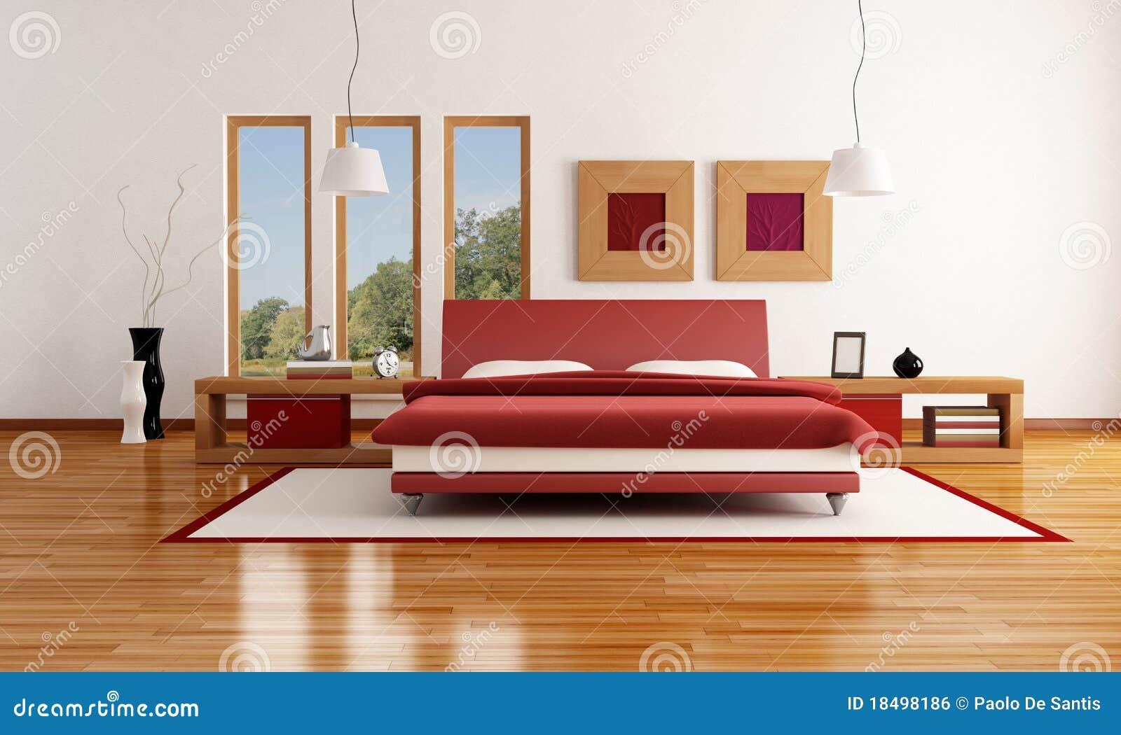 Camera da letto moderna rossa e bianca immagine stock - Camera da letto laccata bianca ...
