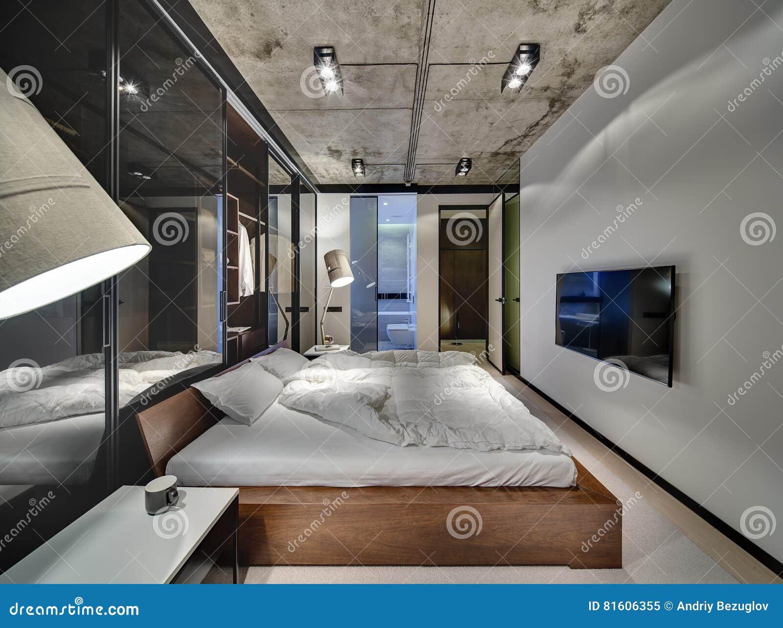 Camera da letto nello stile del sottotetto immagine stock immagine di bathroom decorazione - Camera da letto del papa ...