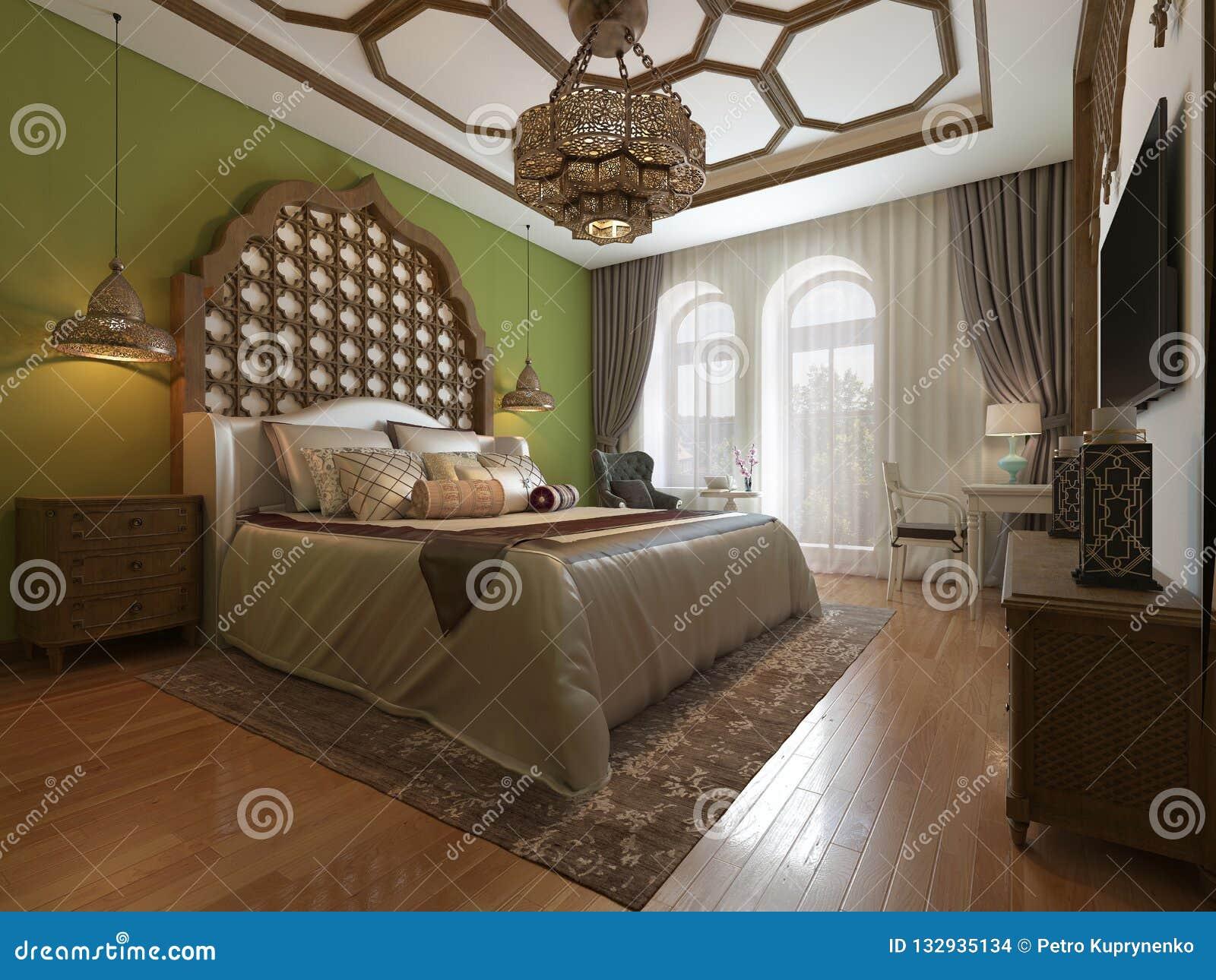Camera Da Letto Orientale In Stile Arabo, Testata Di Legno E ...