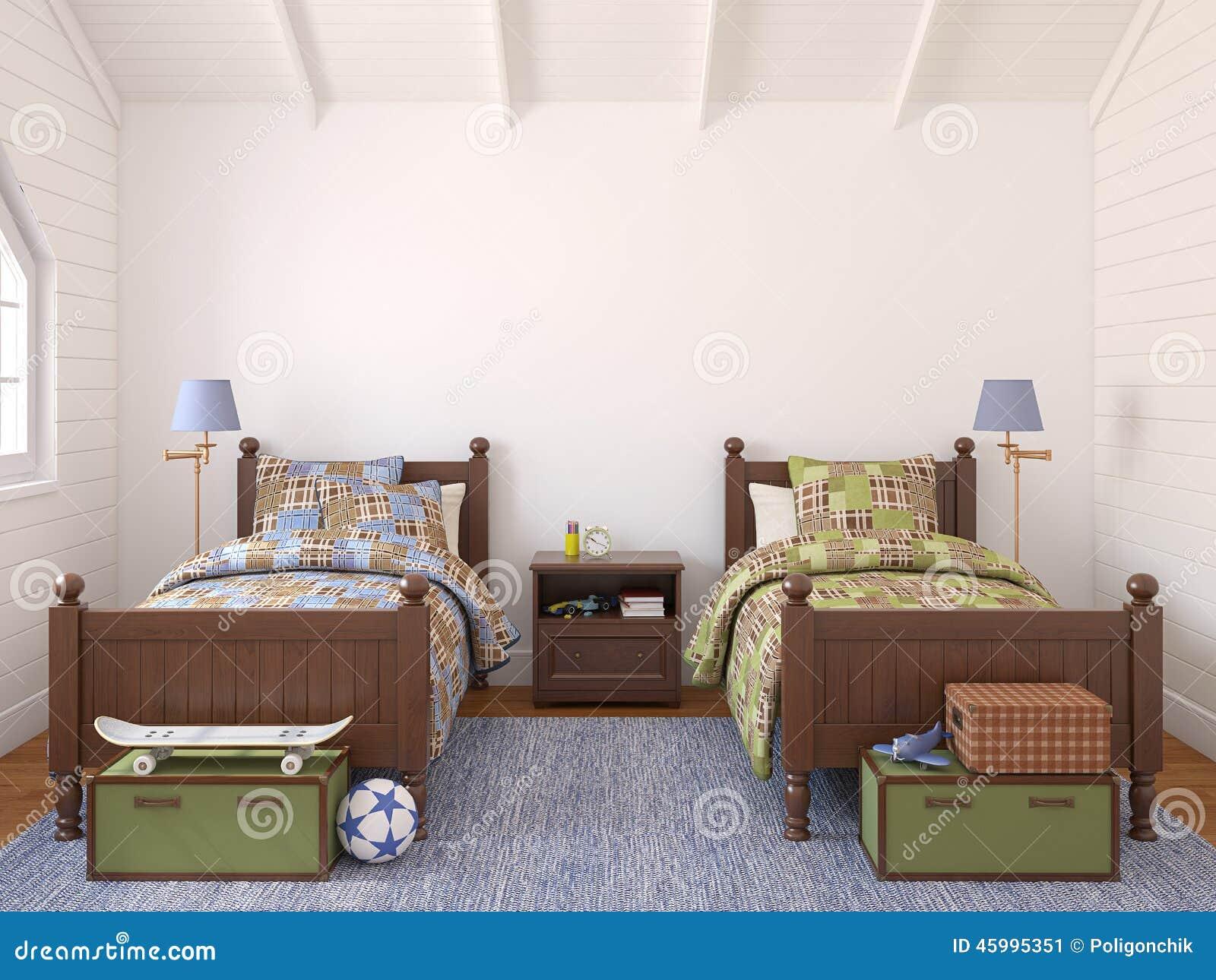 Camera Da Letto Per Due Bambini Illustrazione di Stock - Immagine ...