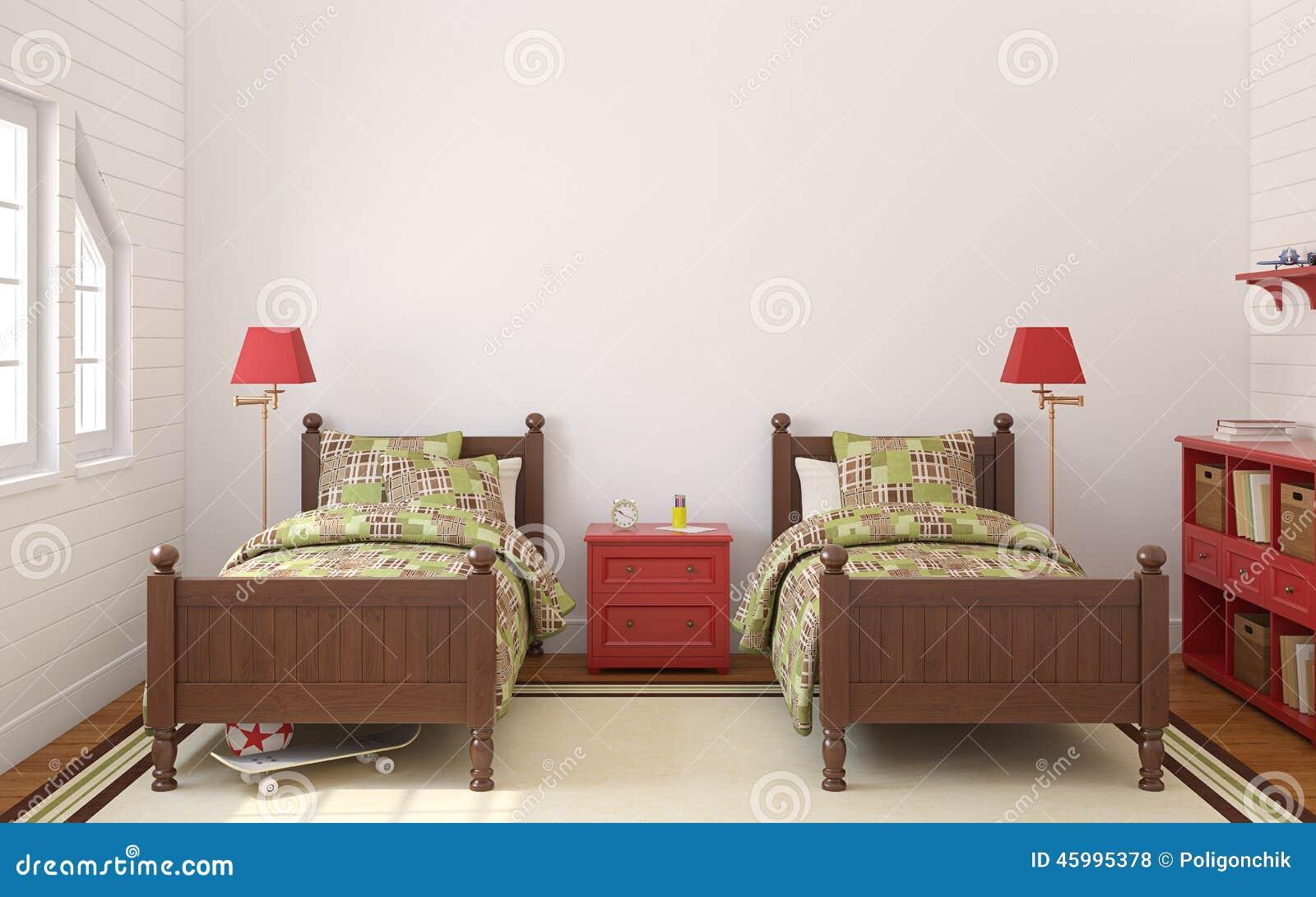 Camera da letto per due bambini illustrazione di stock illustrazione di moquette mobilia - Camera da letto per bambini ...