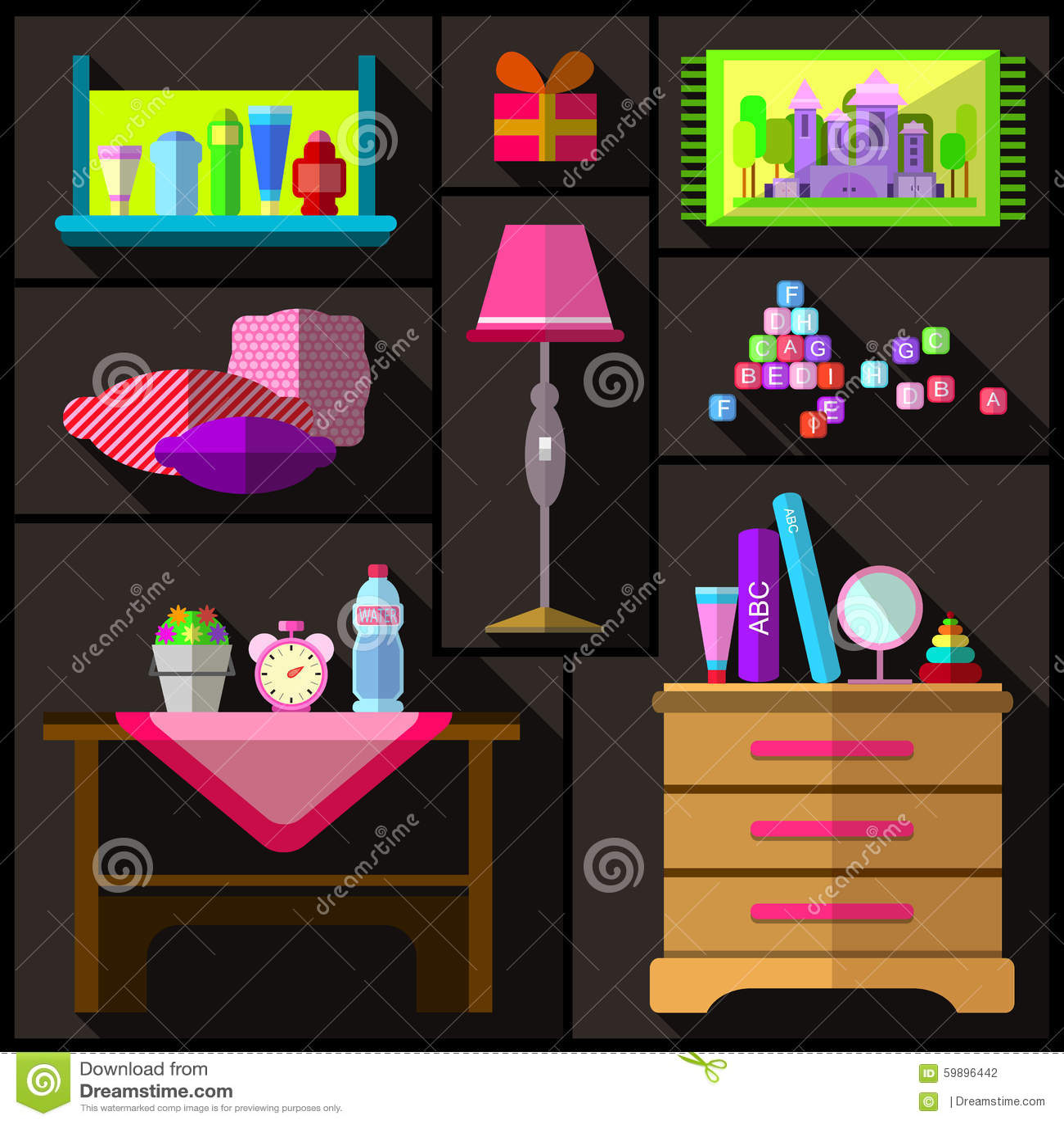 Camera da letto per le ragazze un insieme di mobilia e di oggetti per la stanza illustrazione - Oggetti per la camera da letto ...