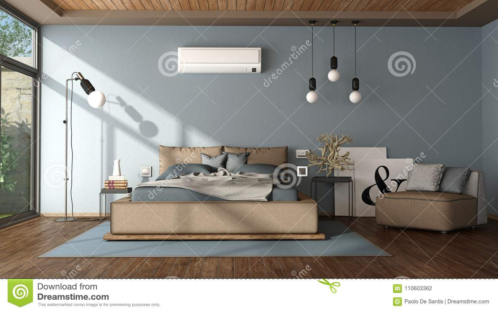Camera Da Letto Moderna Marrone : Camera da letto principale blu e marrone moderna illustrazione di