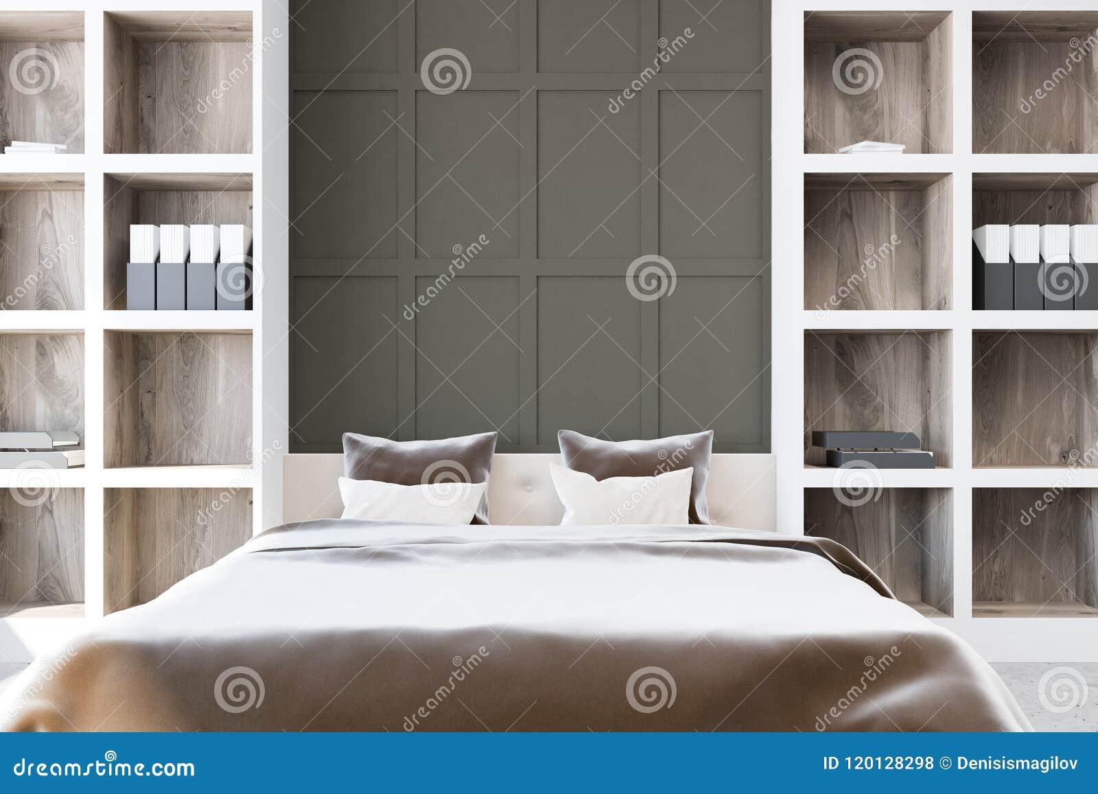 Camera da letto principale grigia con gli scaffali - Camera da letto grigia ...