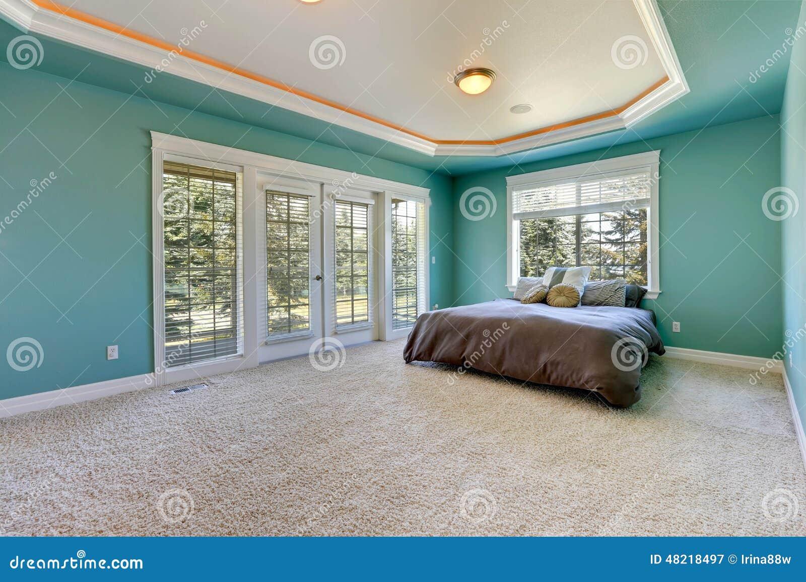 Camere Da Letto Turchese : Camera da letto principale nel colore del turchese immagine stock