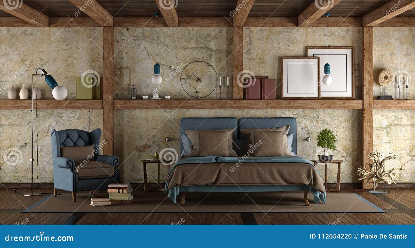 Camera Da Letto Rustica Moderna : Camera da letto principale nello stile rustico illustrazione di