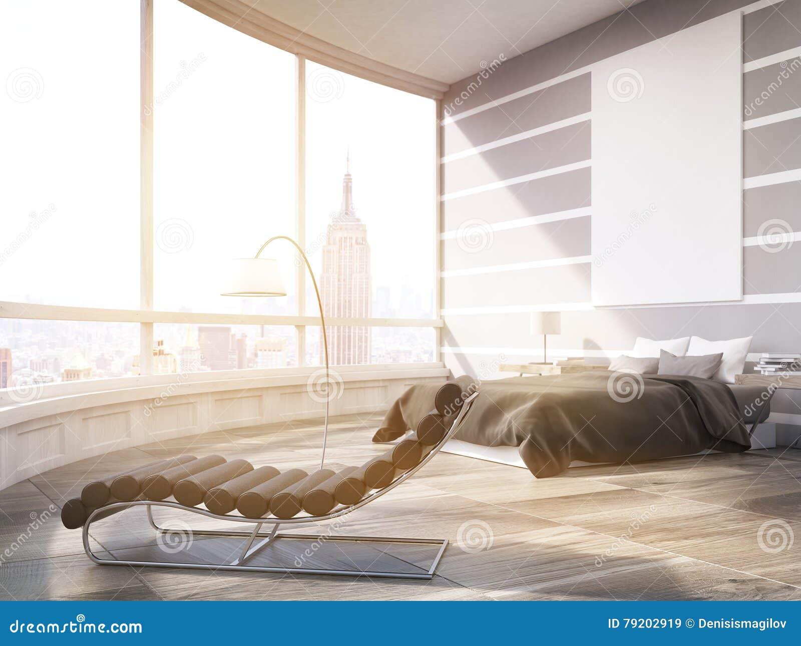 Camera da letto principale soleggiata di New York in piano moderno