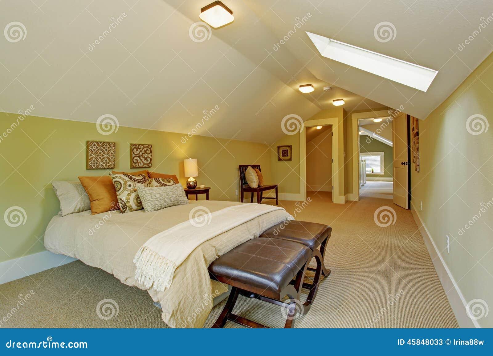 camera da letto principale spaziosa con il soffitto arcato