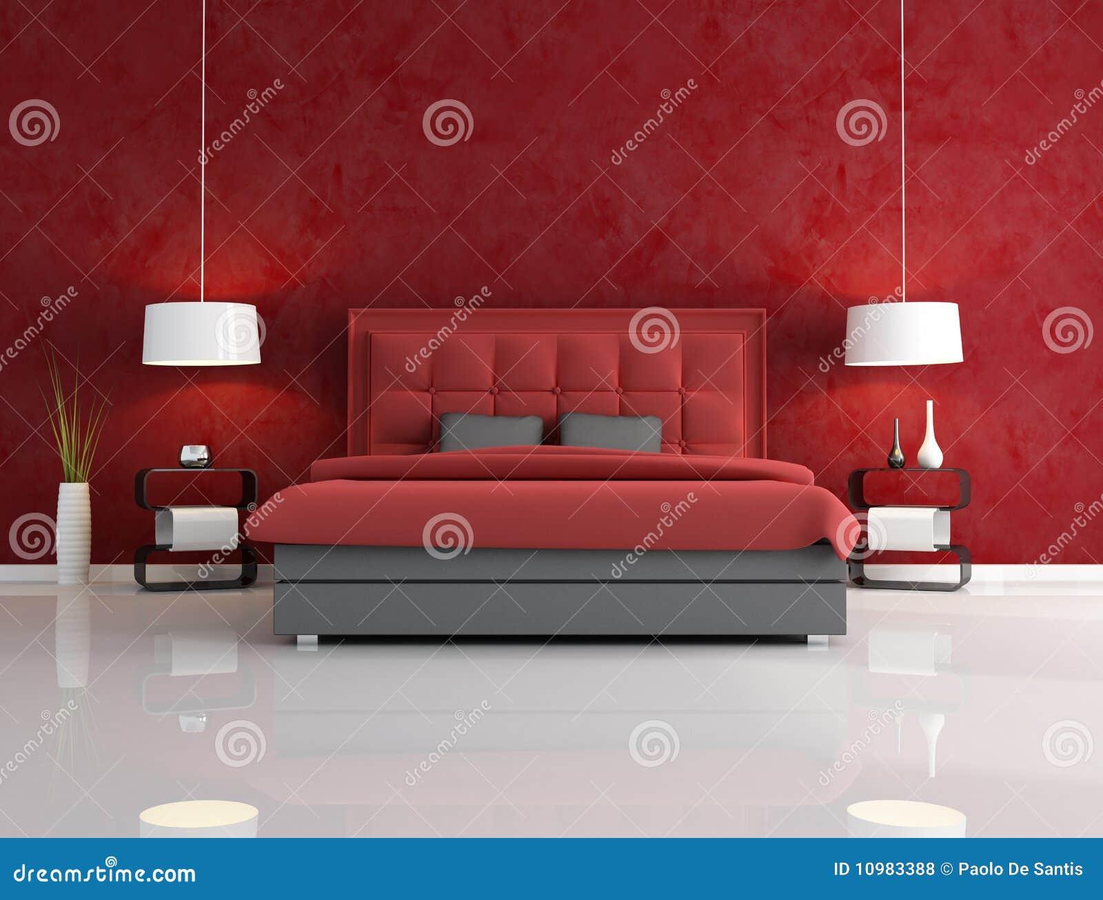 Camera Da Letto Rossa Di Lusso Illustrazione di Stock ...