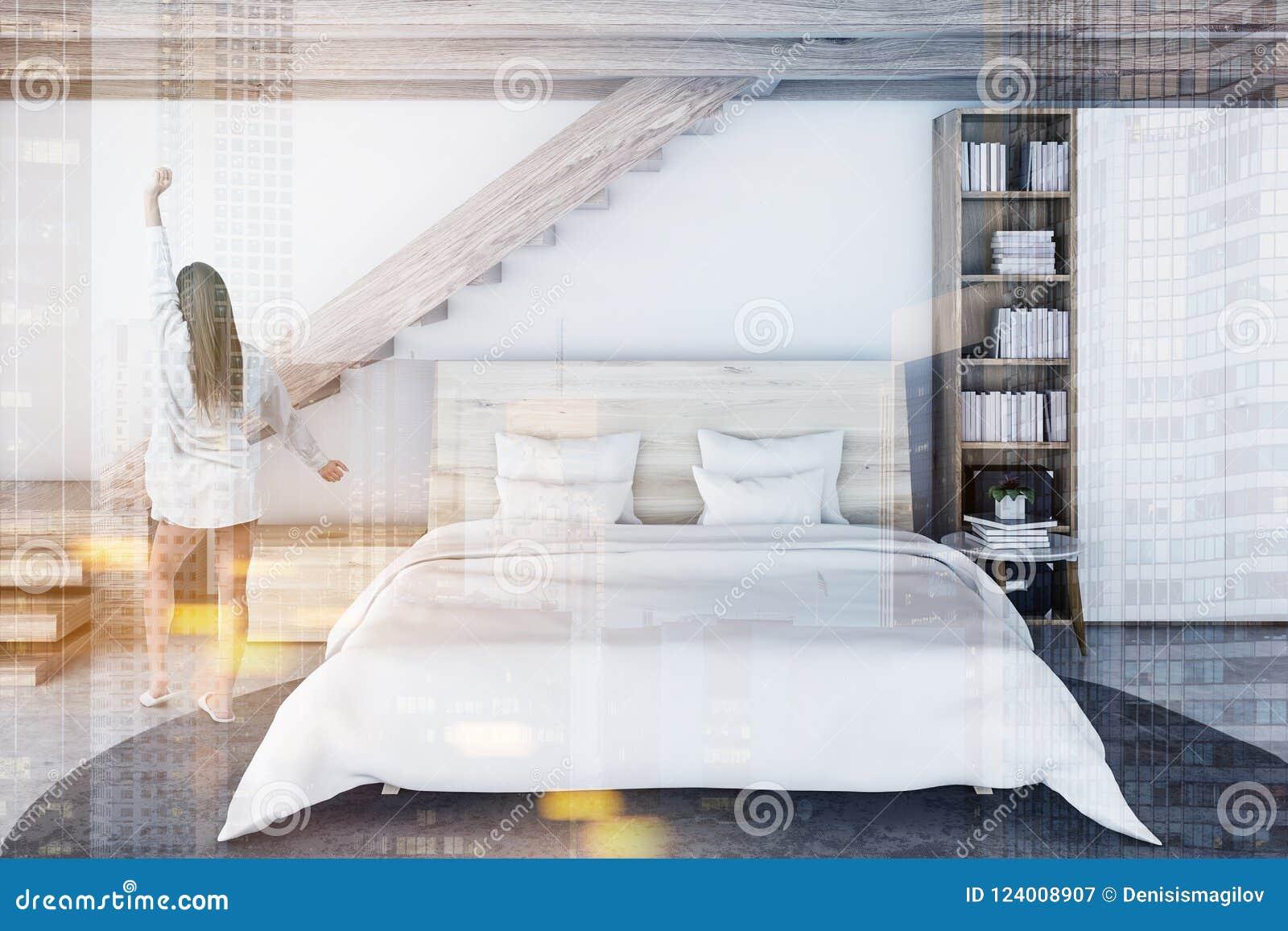 Camera Da Letto In Legno Bianco : Camera da letto scandinava bianca e di legno donna illustrazione