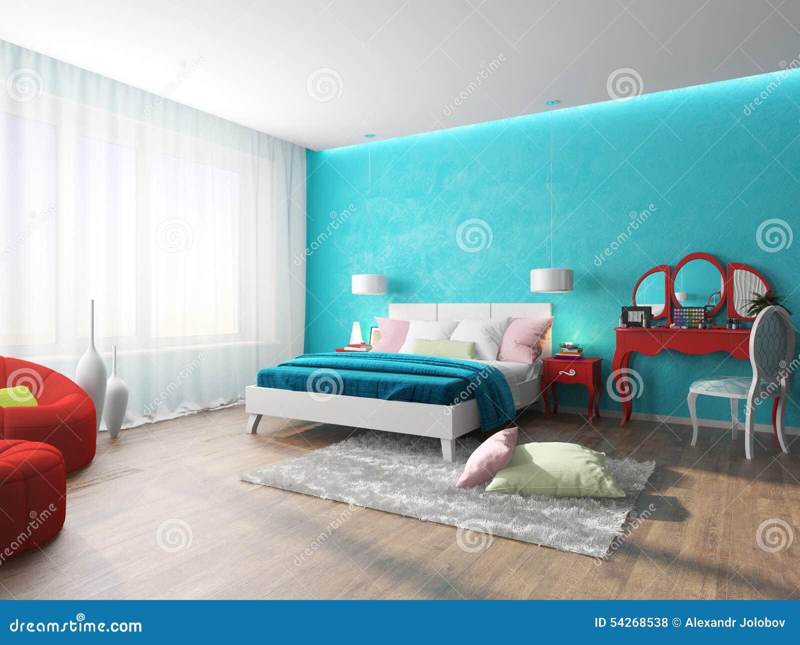 Camere Da Letto Turchese : Illustrazione dell interno della camera da letto in un turchese