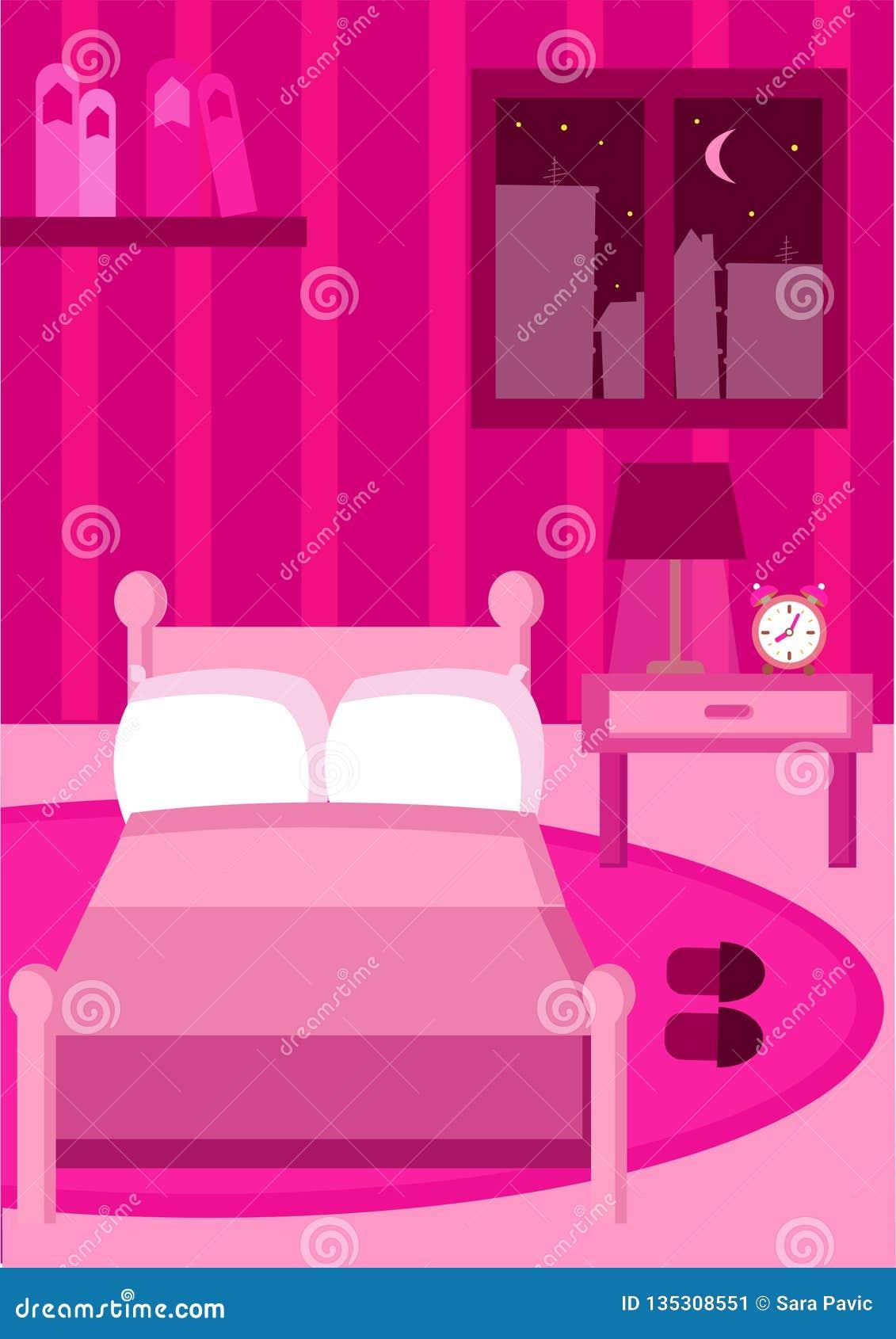 Camera da letto tutta nel colore rosa con tutta la mobilia rosa