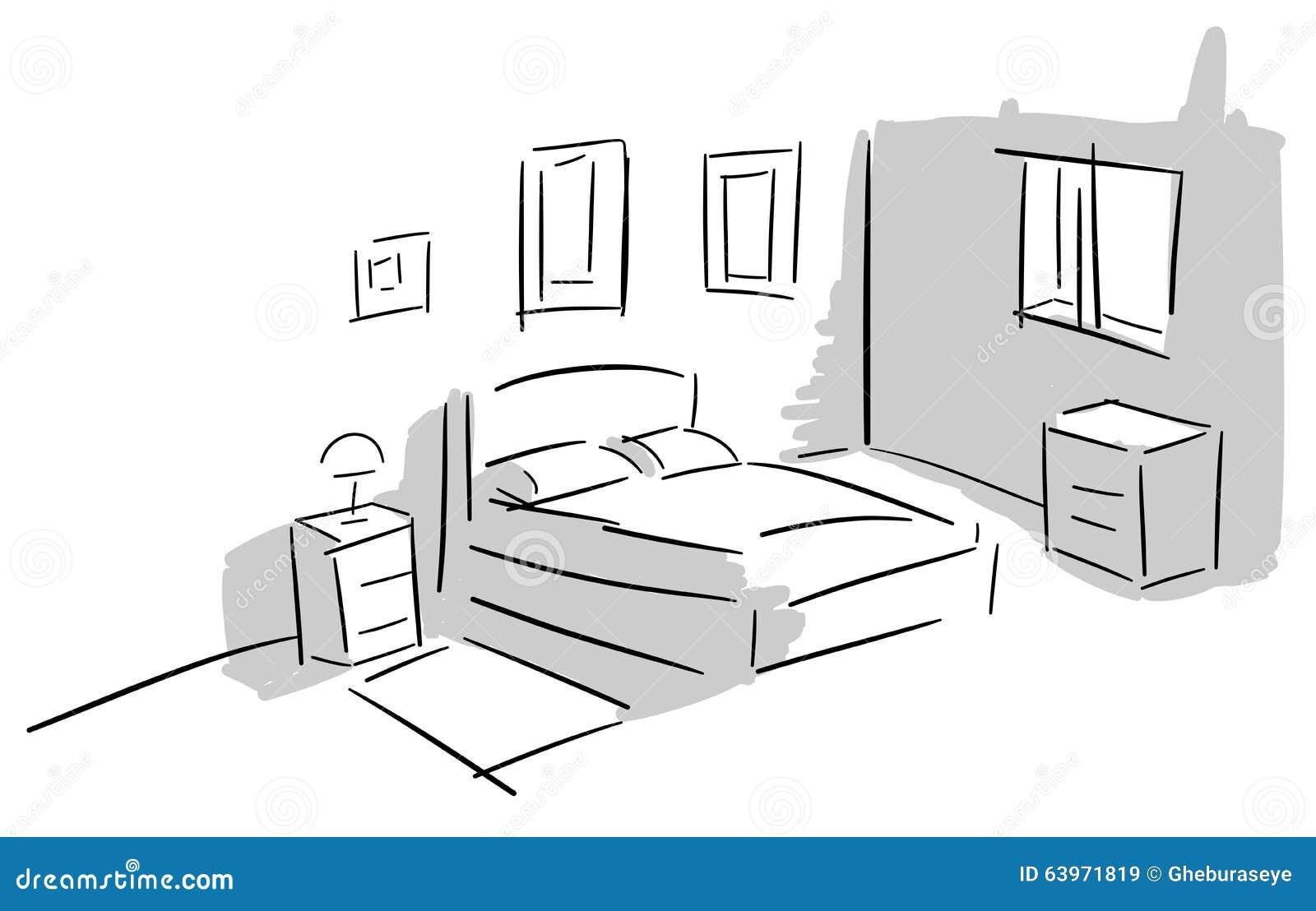 Camera da letto variopinta stilizzata illustrazione vettoriale illustrazione di grigio - Acquisto camera da letto ...