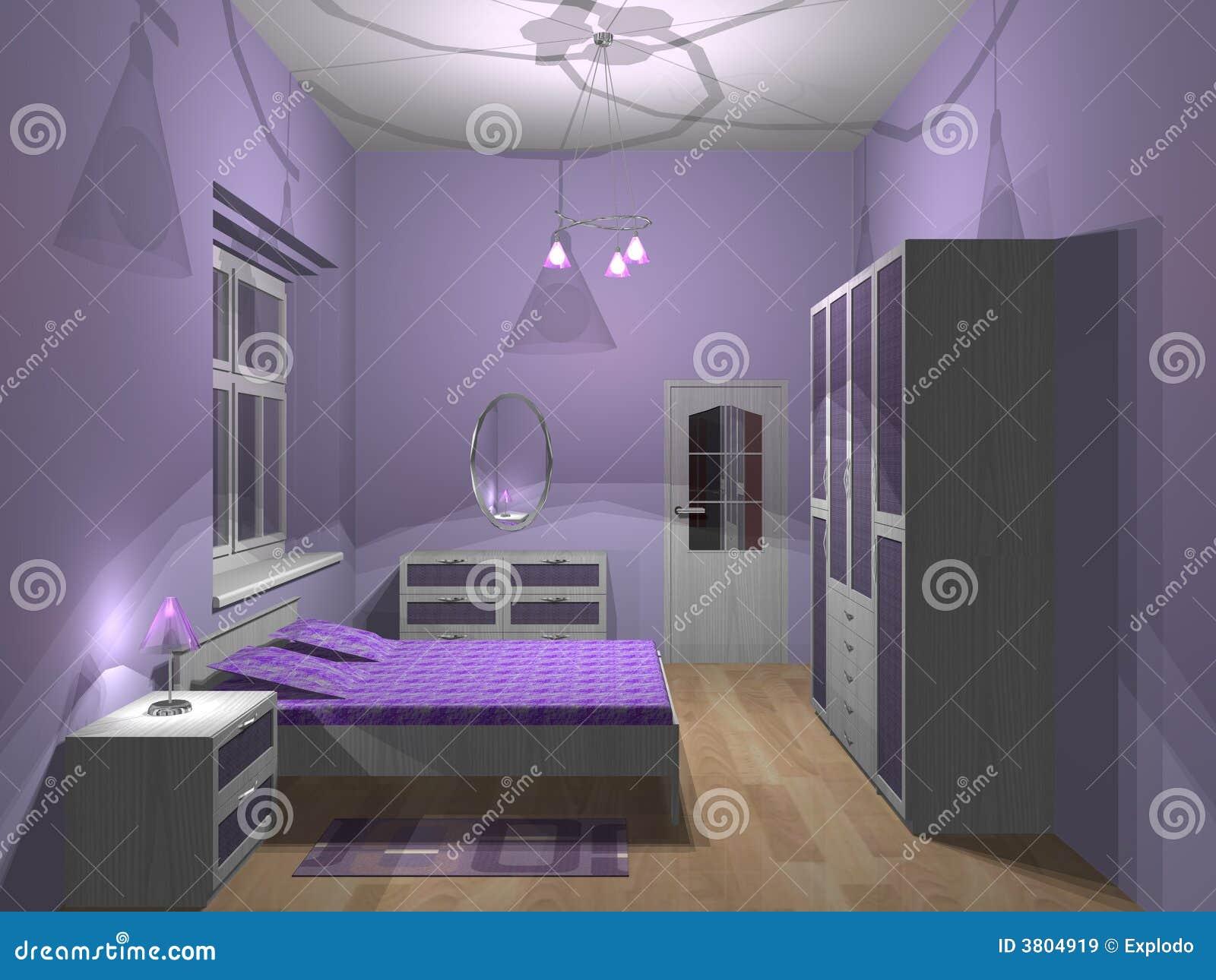 Camera da letto viola illustrazione di stock. Illustrazione di lampada - 3804919