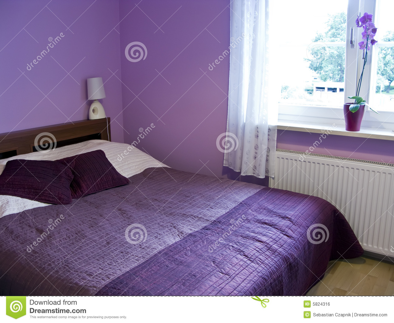 Camera da letto viola fotografia stock. Immagine di bedroom - 5824316