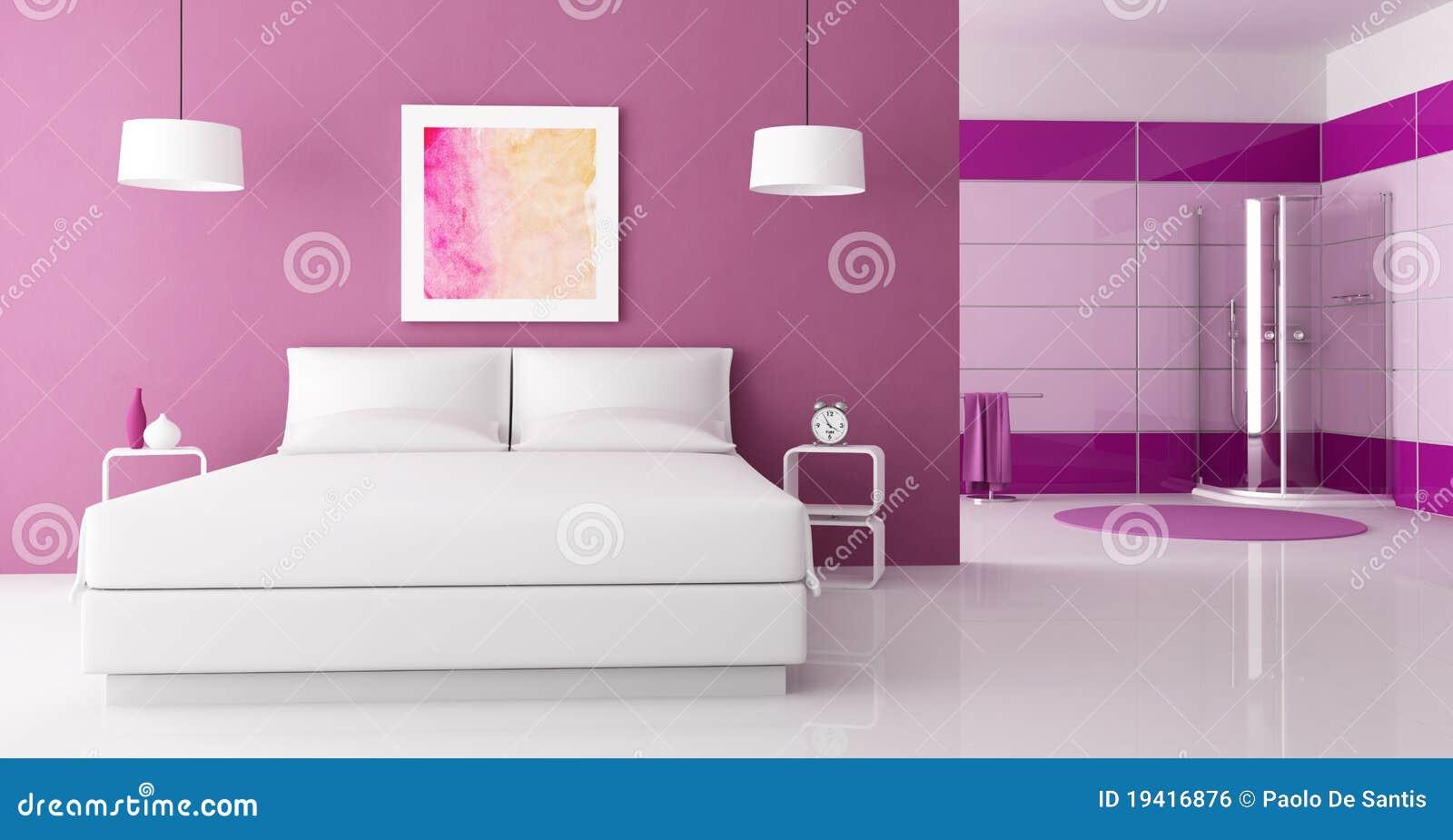 Camera da letto viola con l 39 acquazzone della cabina - Camera da letto doppia ...