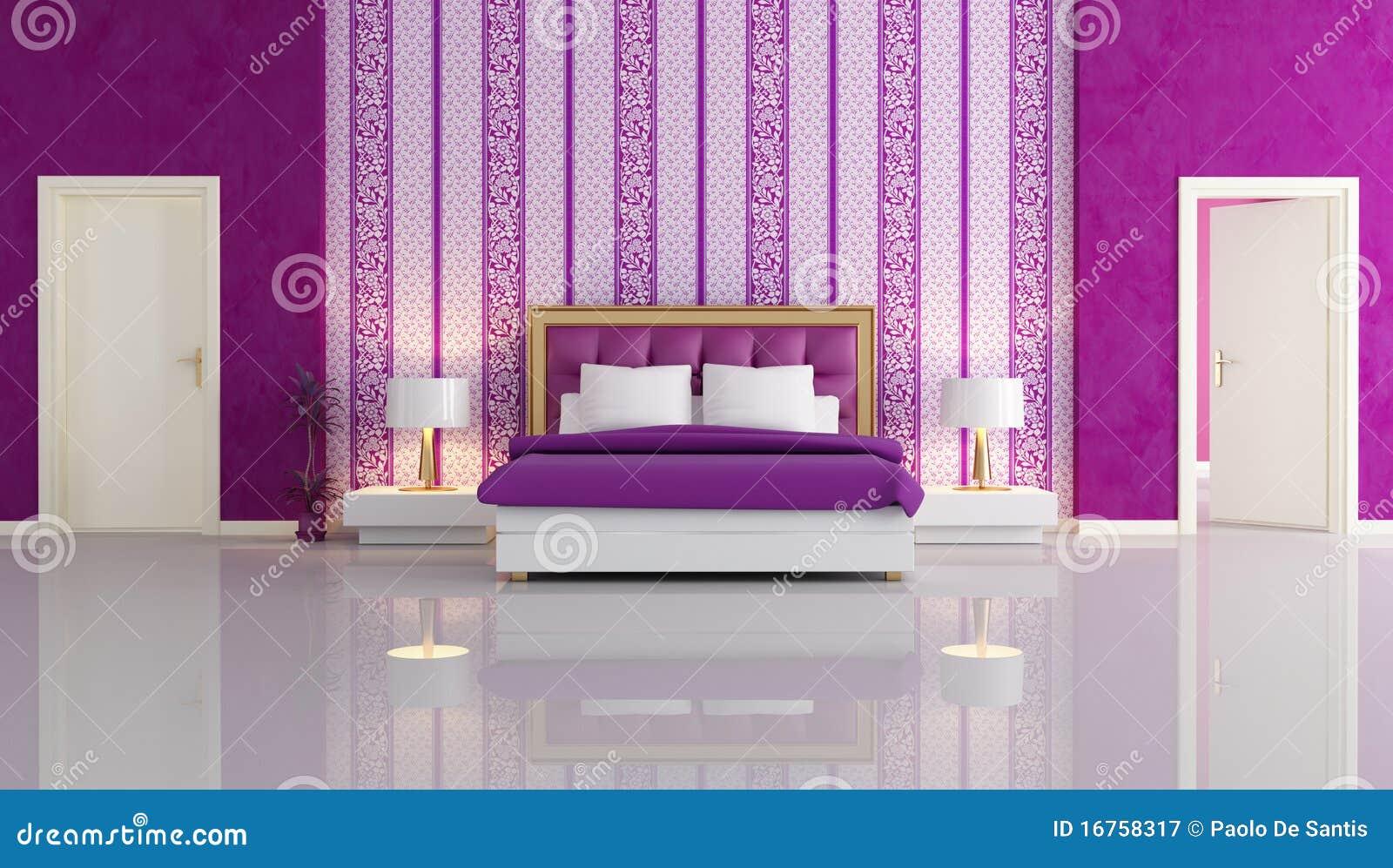Camera da letto viola di lusso fotografia stock libera da - Camera da letto di lusso ...