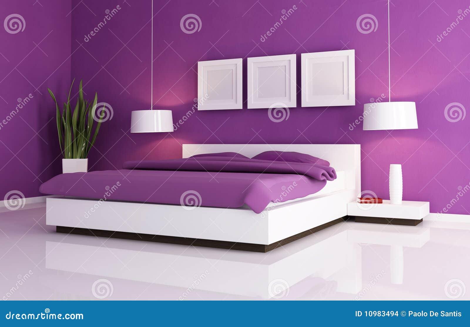 Camera da letto viola e bianca immagini stock immagine - Disegni camera da letto ...