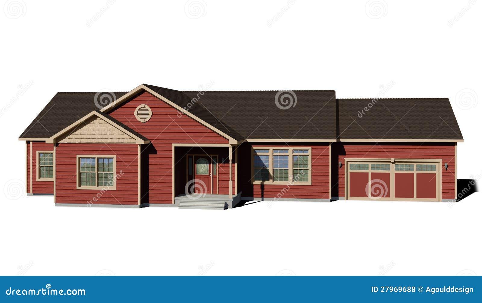 Camera di ranch colore rosso illustrazione di stock for Costruttori di case in stile ranch in texas