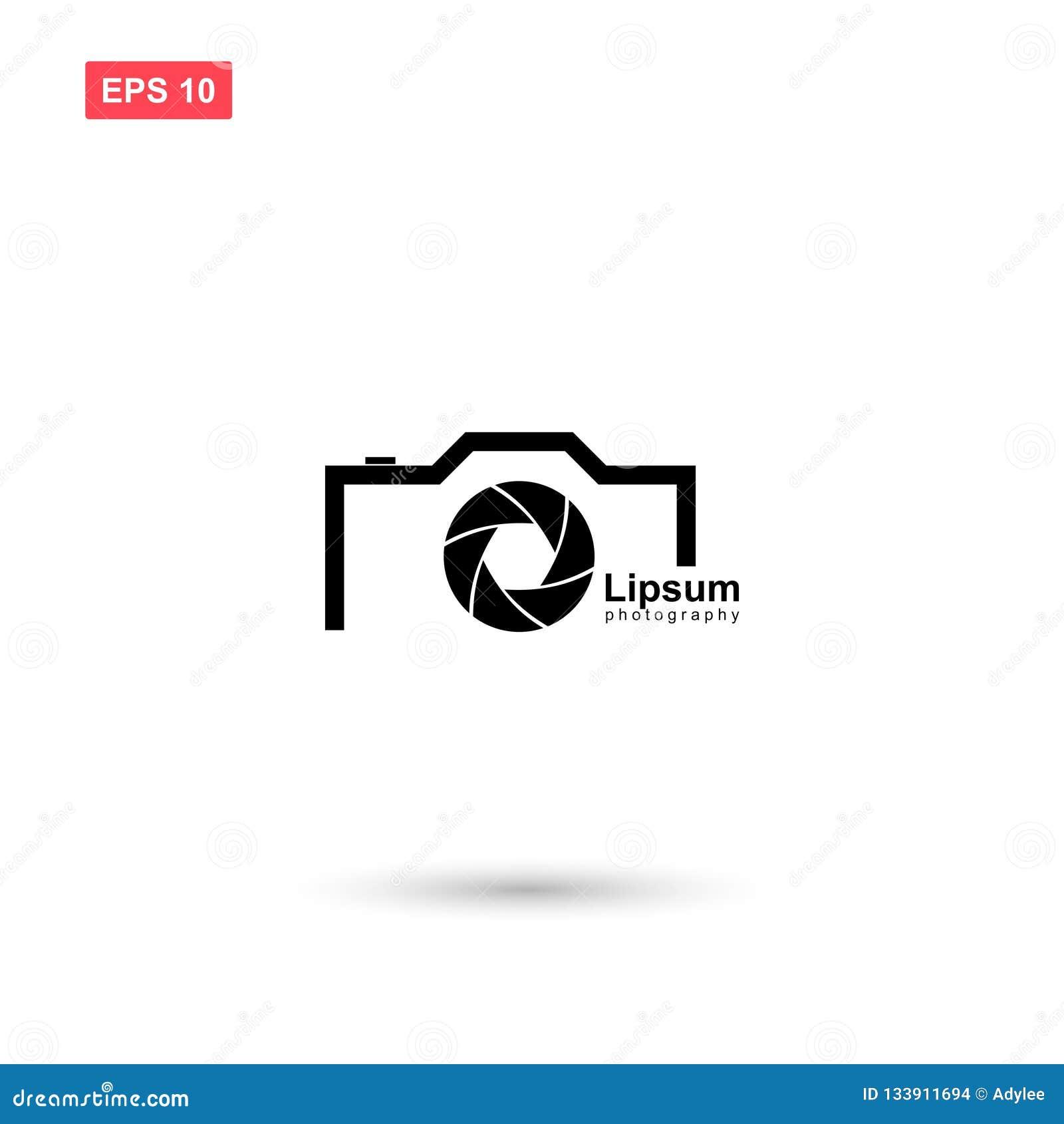 Camera And Diafragma Logo Vector Design Isolated Stock Vector