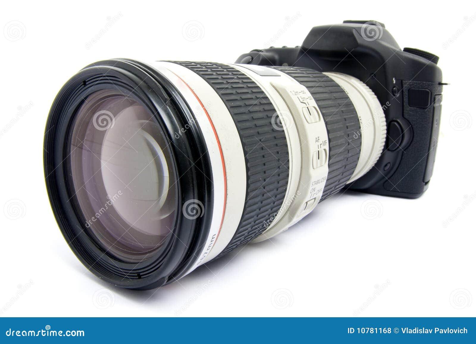 Camera DSLR met zoomlens.