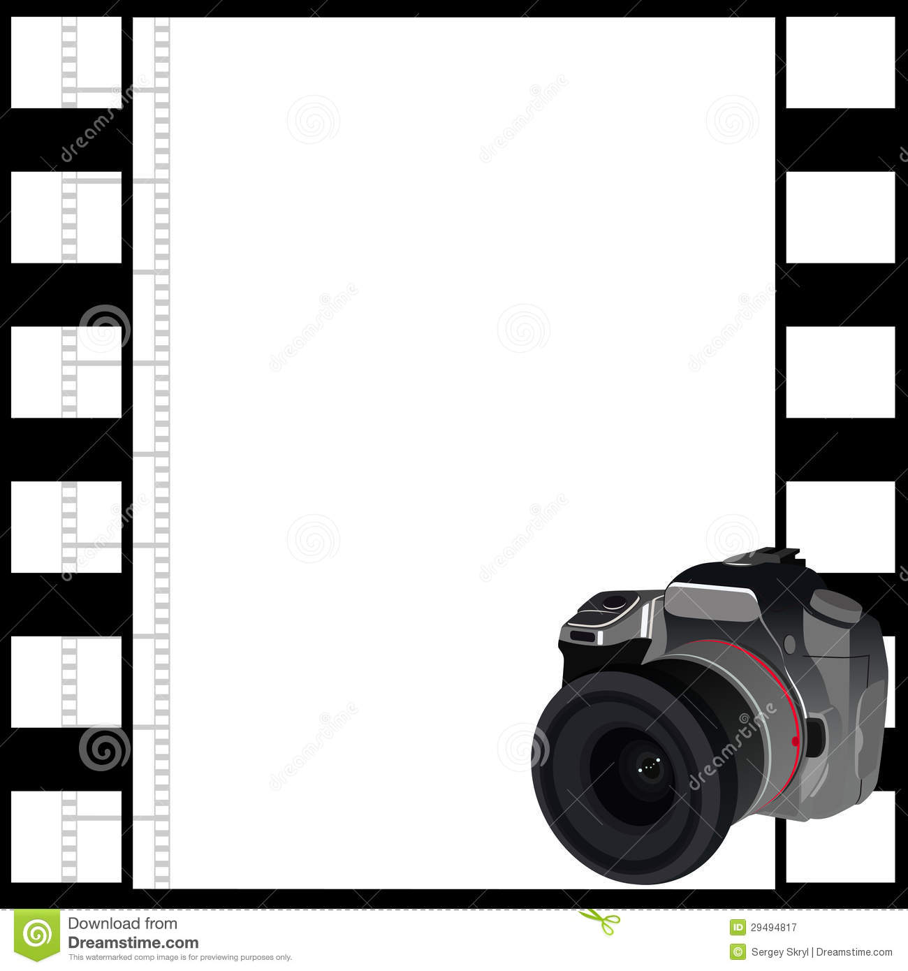 Camera and a frame of film stock vector. Illustration of picture ...