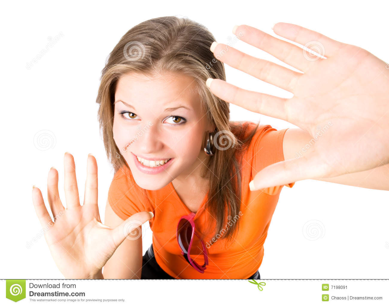 Camera hands happy stretching to woman young