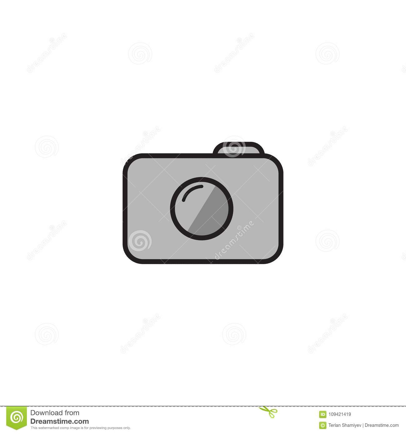 Camera Icon In Trendy Flat Style Isolated On White Background