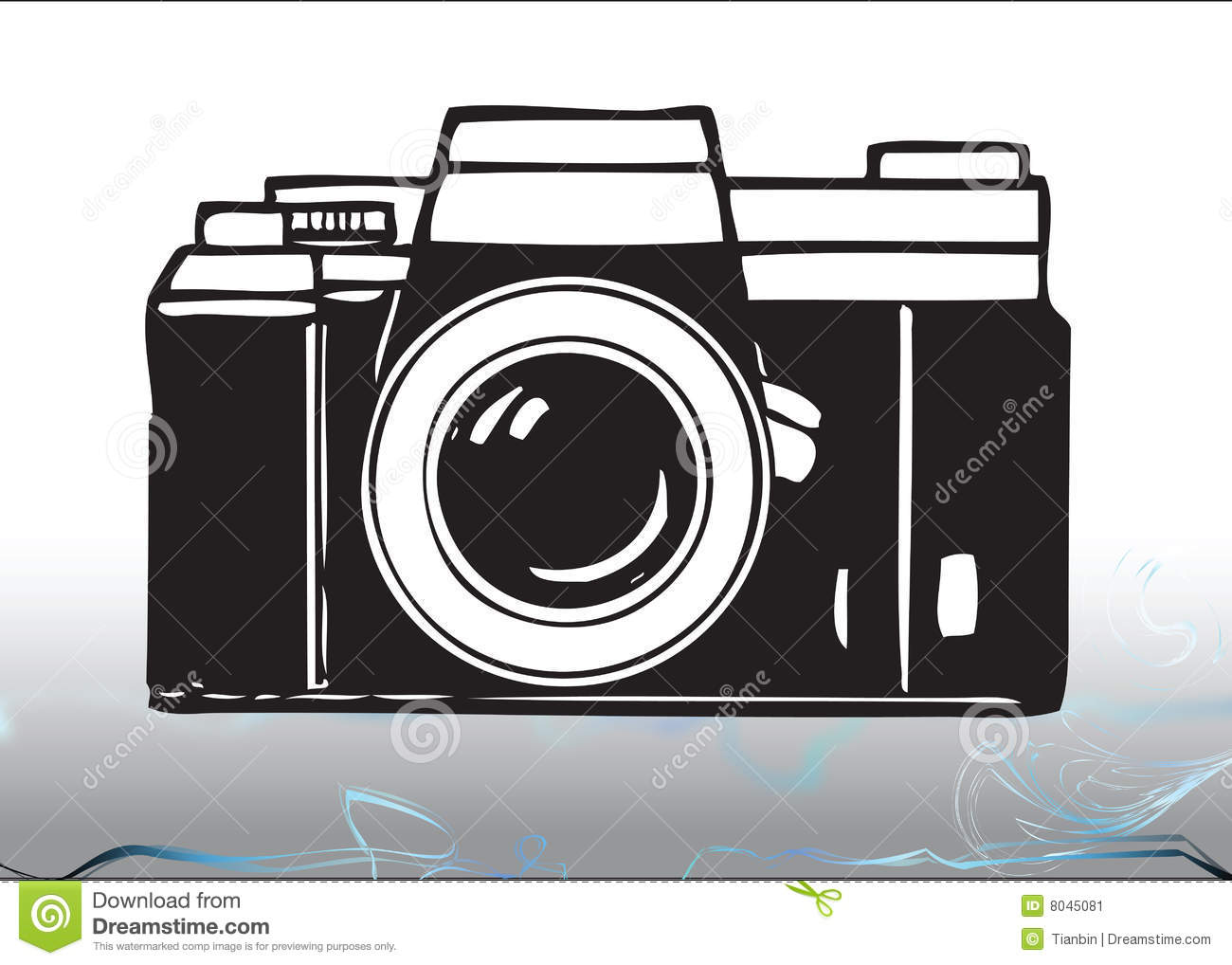 An illustration of a 35mm camera in black and white. .