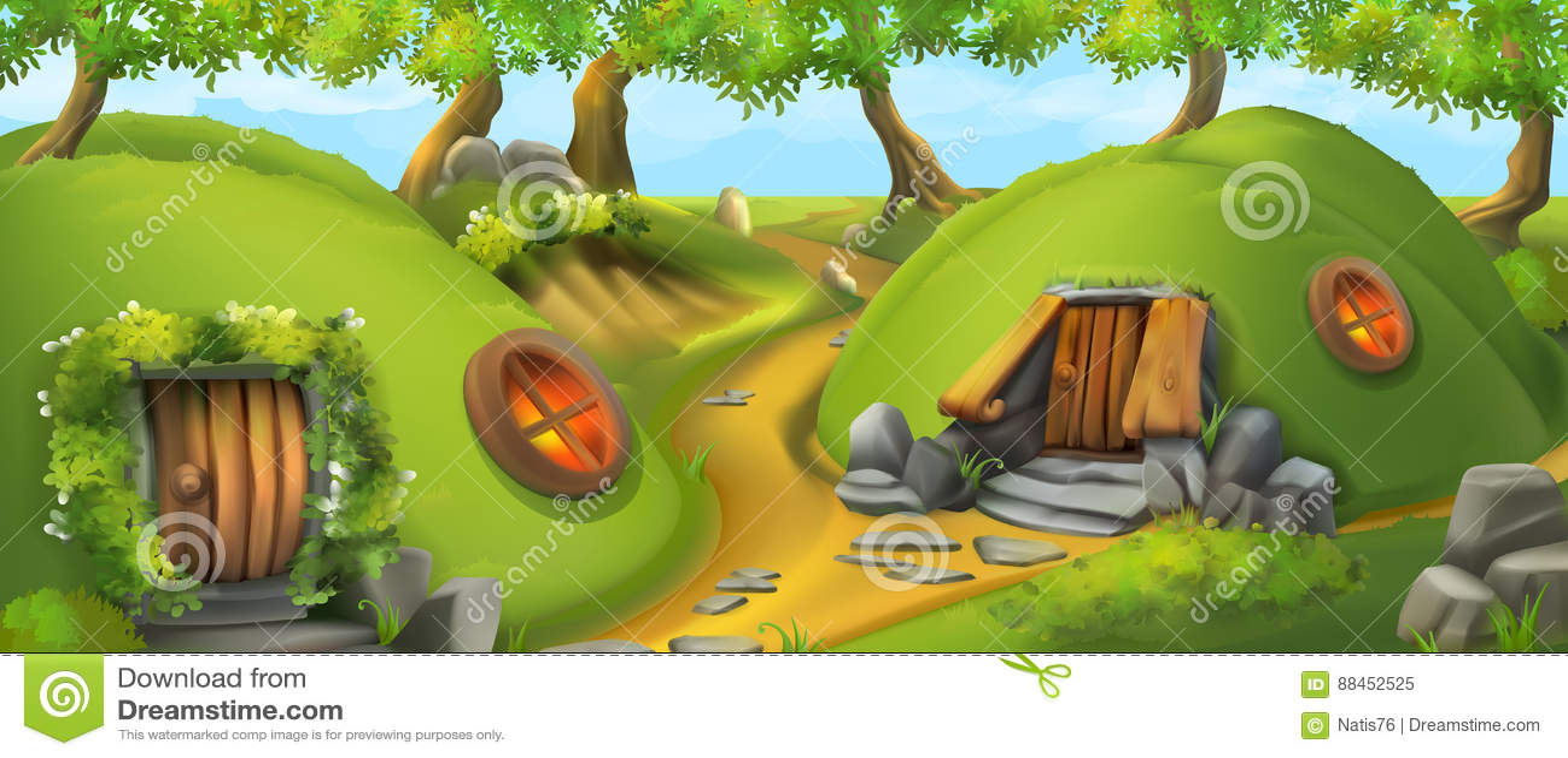 Camera leggiadramente Casa del leprechaun Illustrazione di vettore del paesaggio