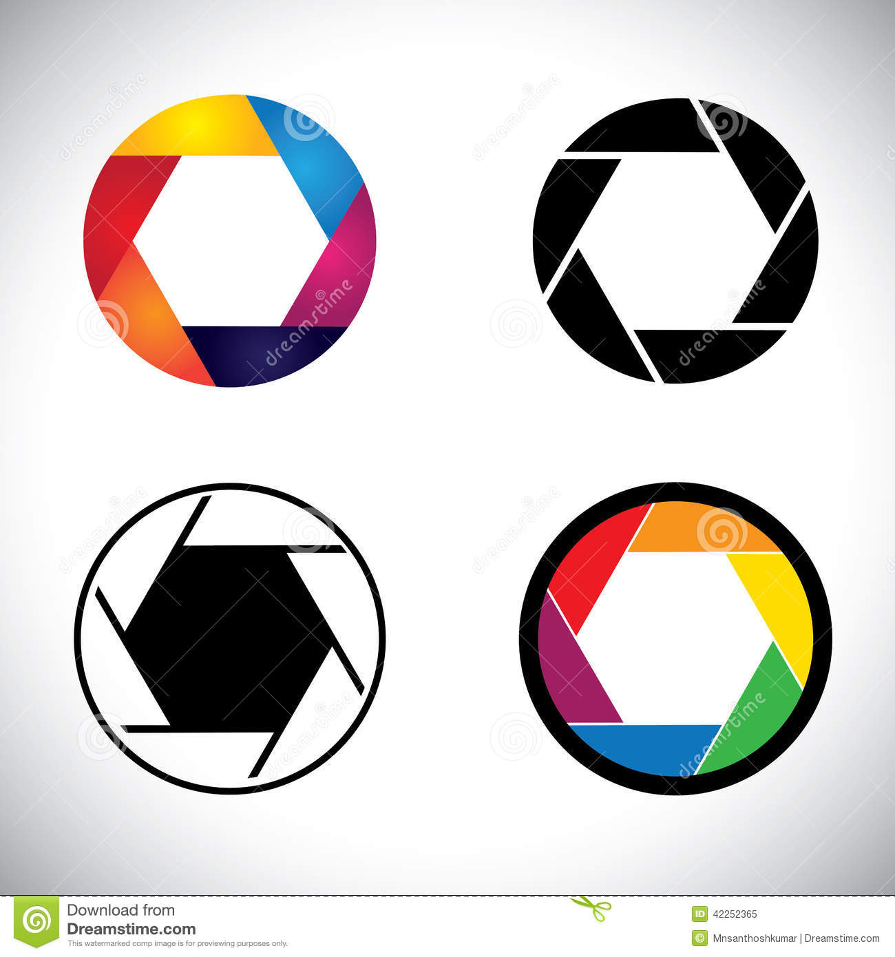 Camera lens shutter aperture abstract icons  vector graphic. This