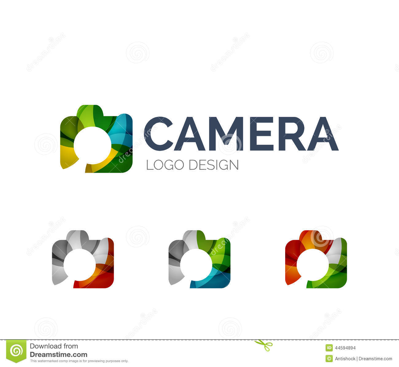 Abstract camera logo design made of color pieces - various geometric ...