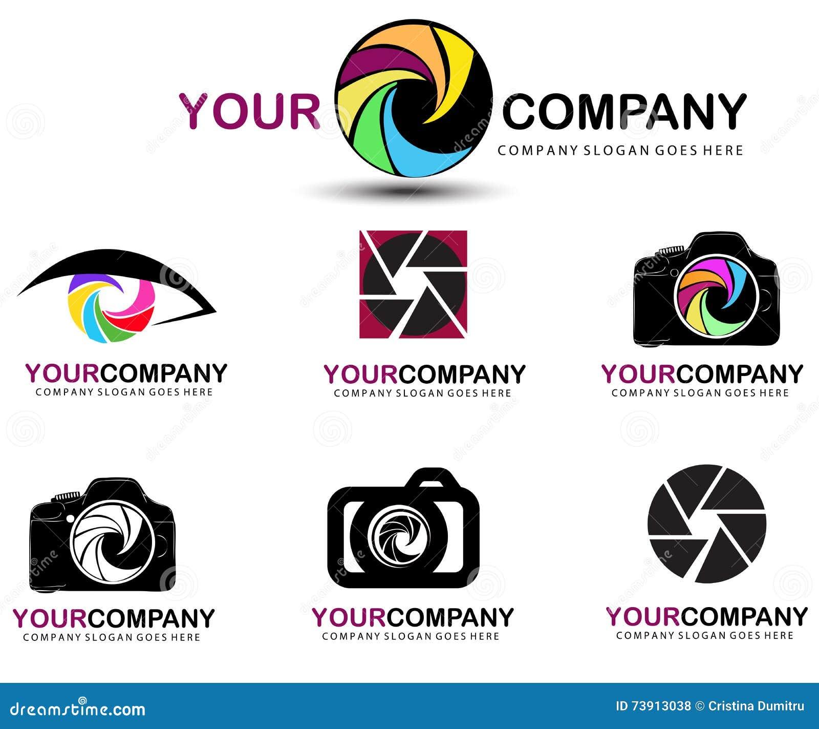camera logo photography concept design vector