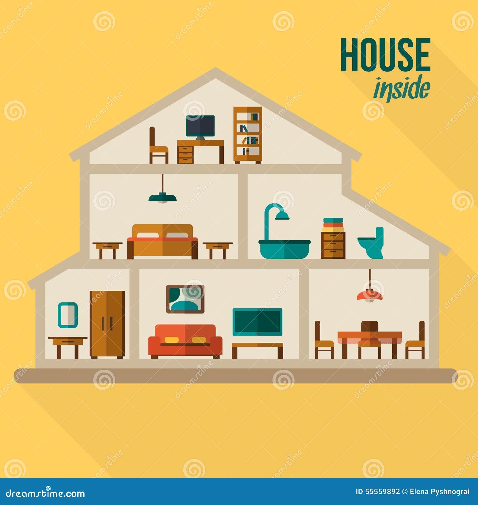Camera nel taglio interno moderno dettagliato della casa for Disegno casa interno
