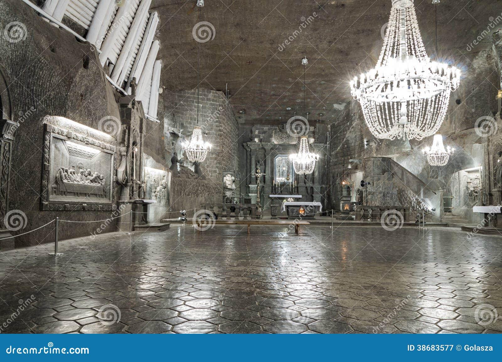 Camera nella miniera di sale in Wieliczka, Polonia