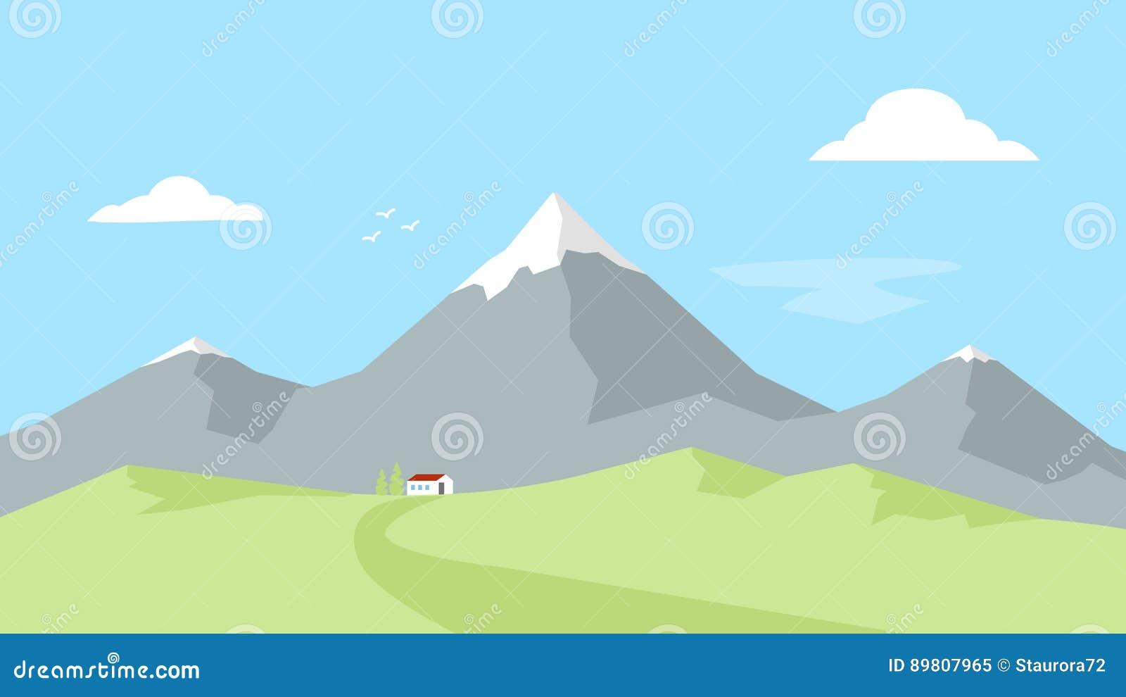 Camera nelle montagne Paesaggio con i picchi di montagna Ricreazione esterna Illustrazione piana di vettore