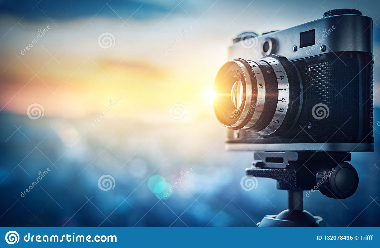 Camera On Night City Background Concept On The Topic Of Media Stock Photo Image Of Flare Camera 132078496