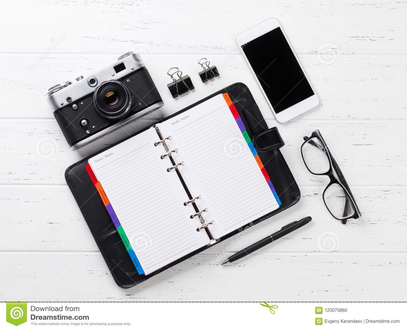 Camera, Notepad And Smartphone Stock Photo - Image of ...