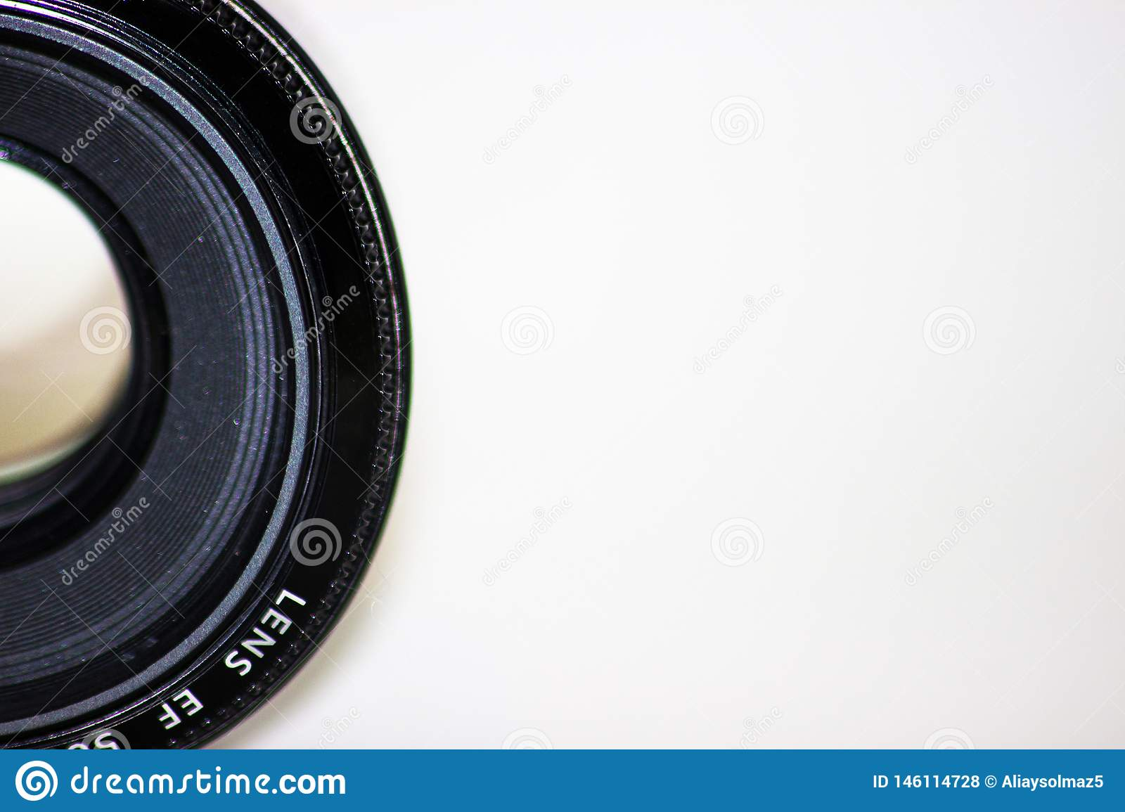 Camera Photo Lens, Old and Used Camera Lens, Isolated Camera Lens, Blank Area